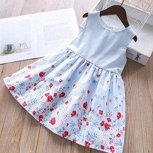 Image 1 - Детское летнее Хлопковое платье для девочек, с цветочным принтом