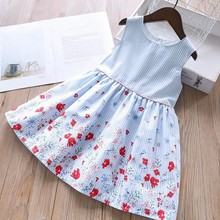 Vestito di compleanno per le ragazze del partito del vestito del bambino abiti floreale di estate scuola capretti del cotone dei vestiti per le ragazze dei vestiti dei bambini vestito
