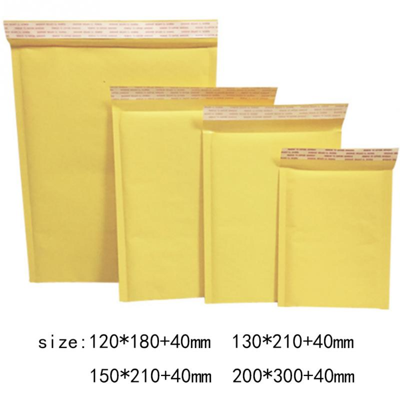 10Pcs/Set Mailing Bags Yellow Kraft Paper Bubble Envelope Bag Moistureproof High Quality Self Seal Shipping Bags Drop Shipping