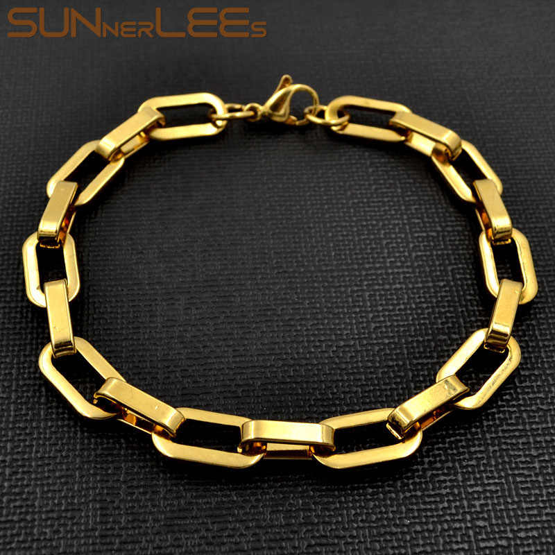 SUNNERLEES Fashion Jewelry 316L Stainless Steel Bracelet 8mm Geometric Link Chain Gold Men Women Gift SC162 B