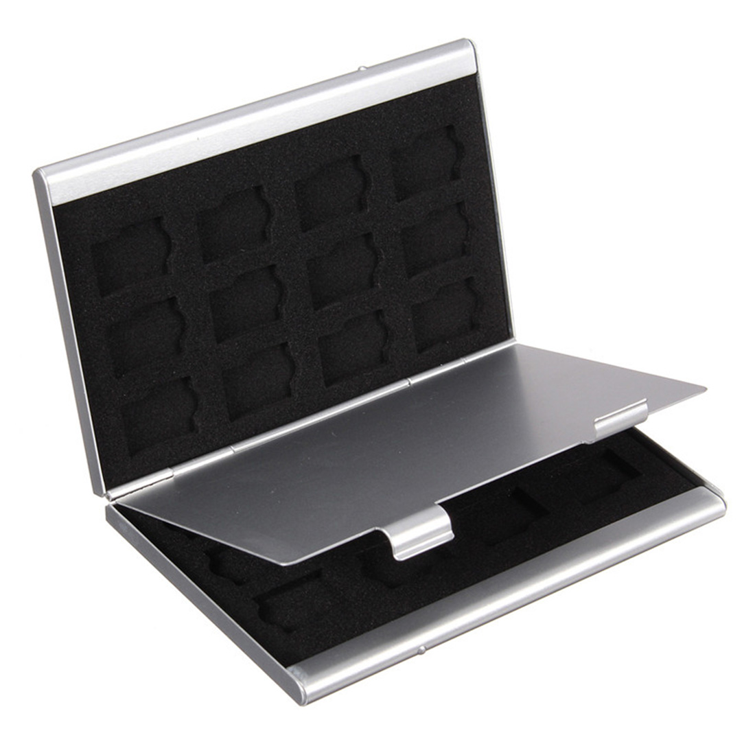 NOYOKERE New Modern Style High Quality Silver Aluminum Memory Card Storage Case Box Holders For Micro Memory SD Card 24TF