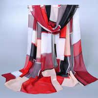 Spring New 9 Style Women Silk Scarf Chiffon Shawls Geometric Print Thin Long Polyester Scarves For Women Wholesale 160*50 Cm