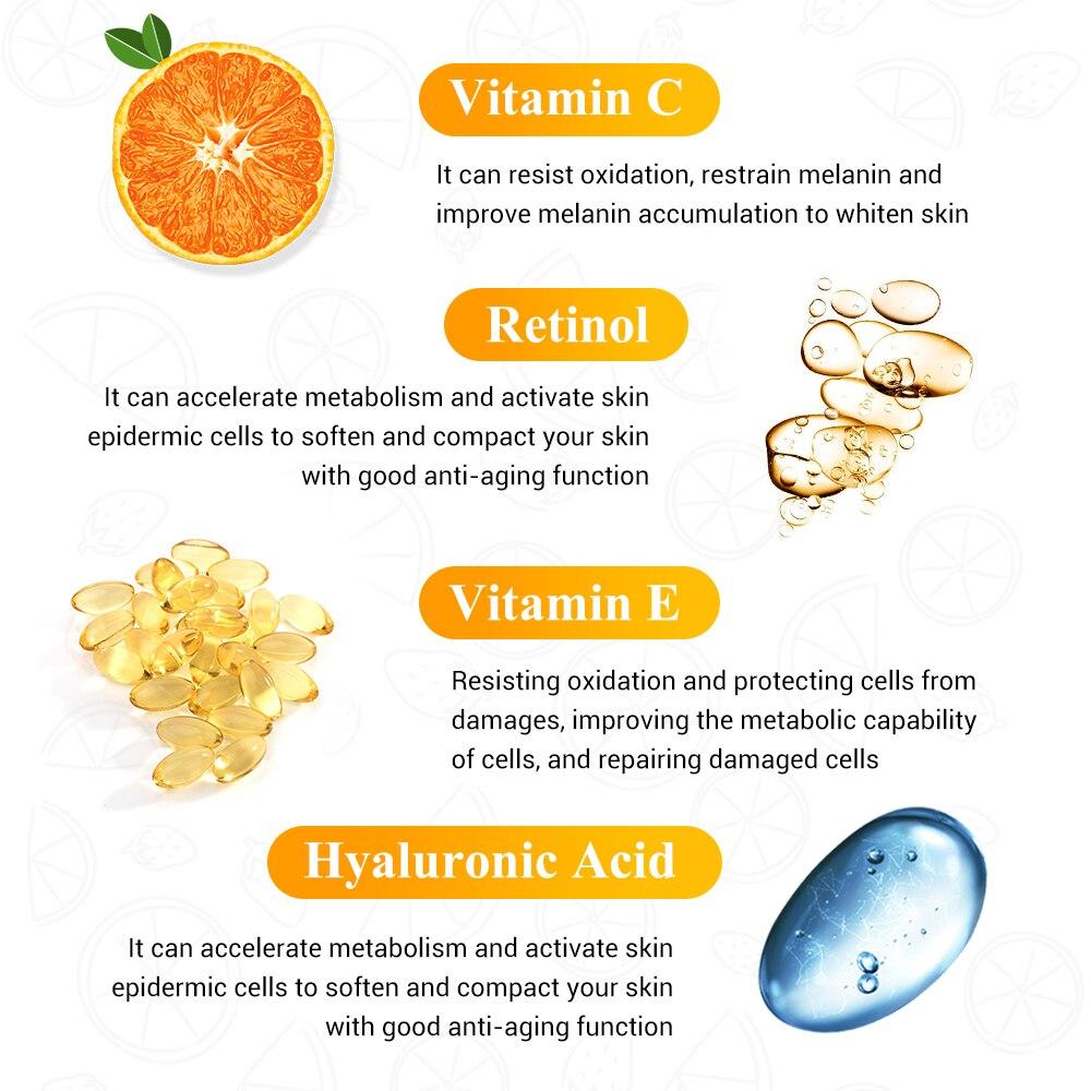 BREYLEE Vitamin C Essence Whitening Serum Face Skin Care Repair Hyaluronic Acid Moisturizing Wrinkle Freckle Spots Removal 2 PCS in Serum from Beauty Health