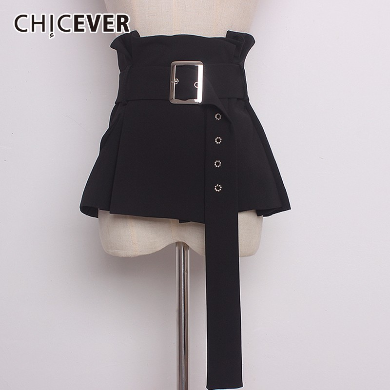 CHICEVER 2020 Vintage Black Belt For Women Cummerbunds Slim Pleated Shirt Accessories Belts Female Fashion Casual New