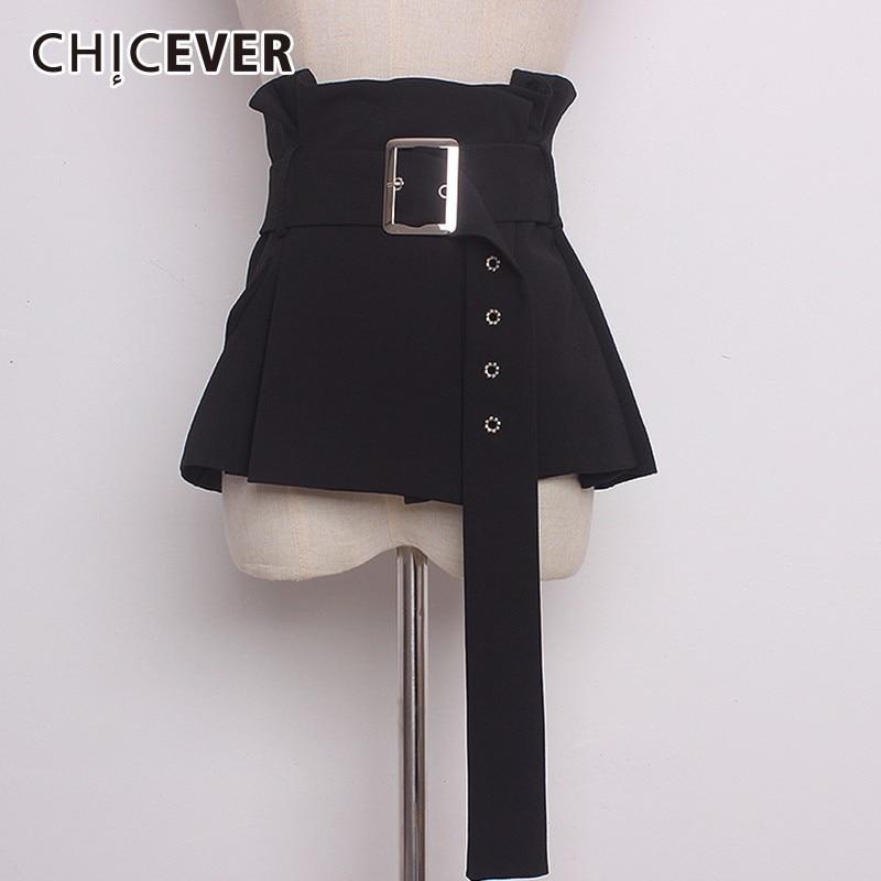 CHICEVER 2020 Vintage Black Belt For Women Cummerbunds Slim Pleated Shirt Accessories Belts Female Fashion Casual New
