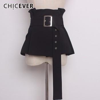 Chicever 2020 Vintage Zwart Voor Vrouwen Cumberbanden Slanke Geplooide Shirt Accessoires Riemen Vrouwelijke Mode Toevallige Nieuwe