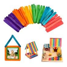50 шт./партия, натуральные деревянные палочки для мороженого, художественные инструменты для мороженого, Детские Поделки своими руками, цветные деревянные палочки для мороженого