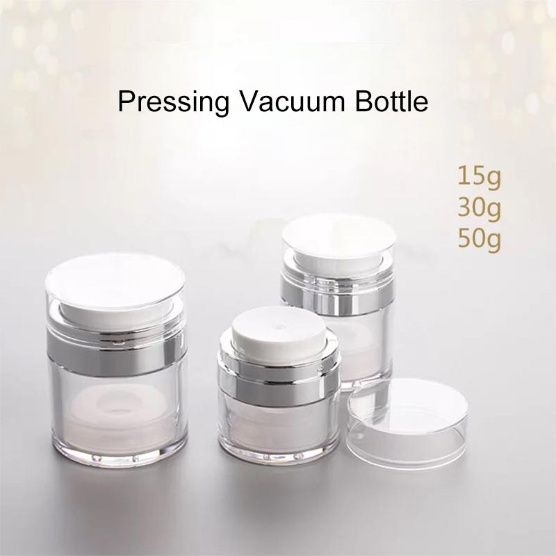 1pcs 15g 30g 50g Cosmetic Jar Empty Acrylic Cream Cans,Vacuum Bottle,Press Cream Jar,Sample Vials,Airless Cosmetic Container 25