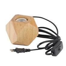 Современная настольная лампа E27 деревянная настольная лампа Алмазная прикроватная лампа для дома/спальни/гостиной Декор евровилка деревянная основа