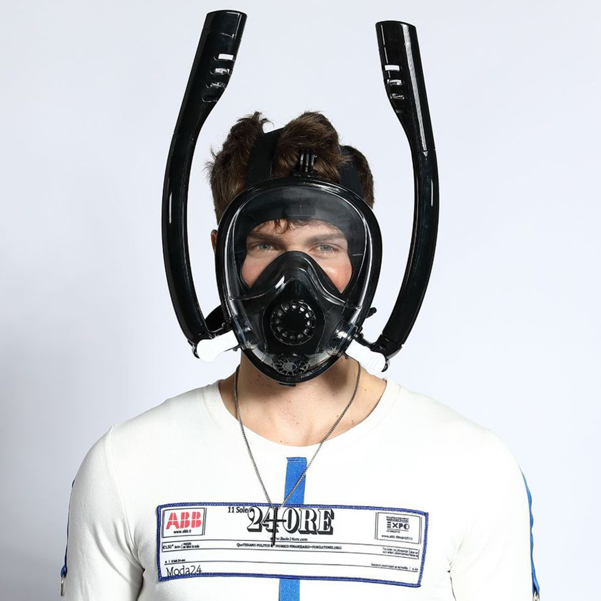 Masque de plongée intégral 180 degrés avec bouchon d'oreille Anti-buée Anti-fuite pour fixation GoPro pour adultes et jeunes masque de plongée Anti-buée