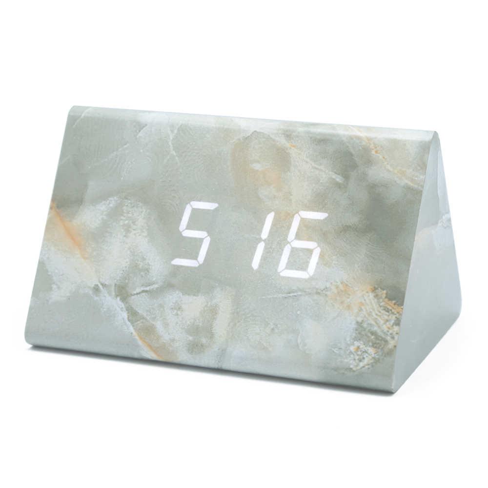 24 Timer Sound led sound control wooden alarm clock digital table clock usb charging 12/24  h display timer calendar temperature table decor