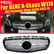Fits For W176 Diamond Grills Grill ABS Material Silver A-Class A180 A200 A250 A45 Without Sign Front Bumper Grille Mesh 2013-15