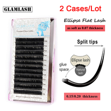 GLAMLASH Wholesale 2 Cases Professional natural soft flat eyelash extensions Black Light Ellipse Shaped Split Tips Mink Lashes