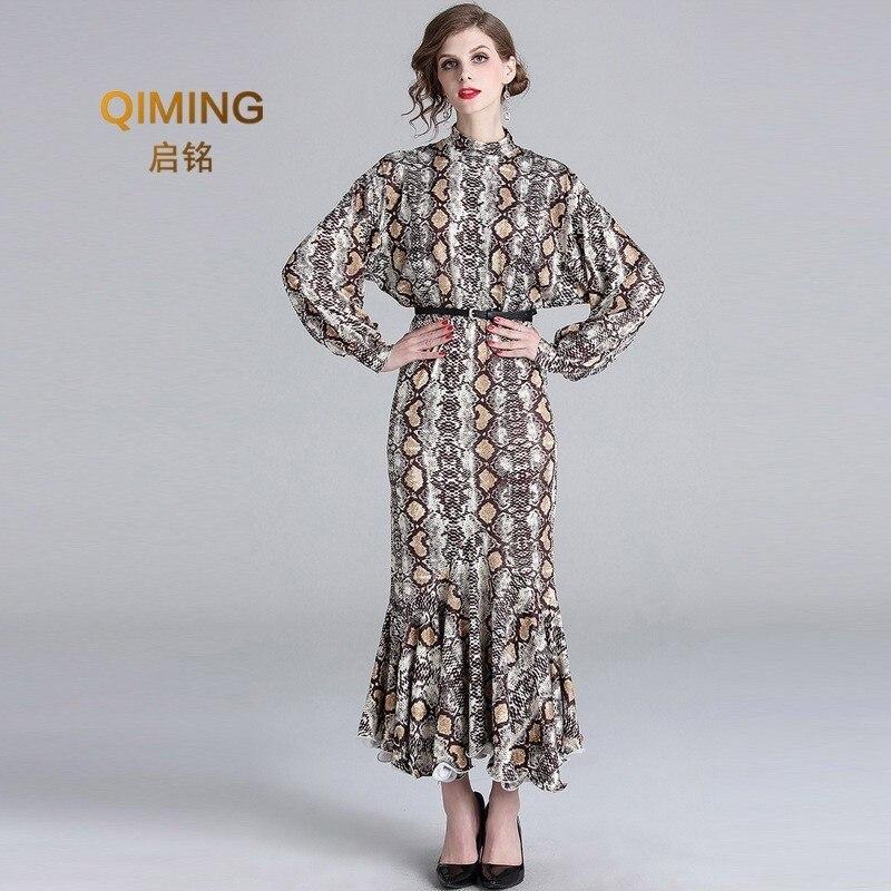Printemps été motif chauve-souris manches longues peau de serpent impression bord de feuille de Lotus femmes sexy maxi robe de soirée robes élégantes