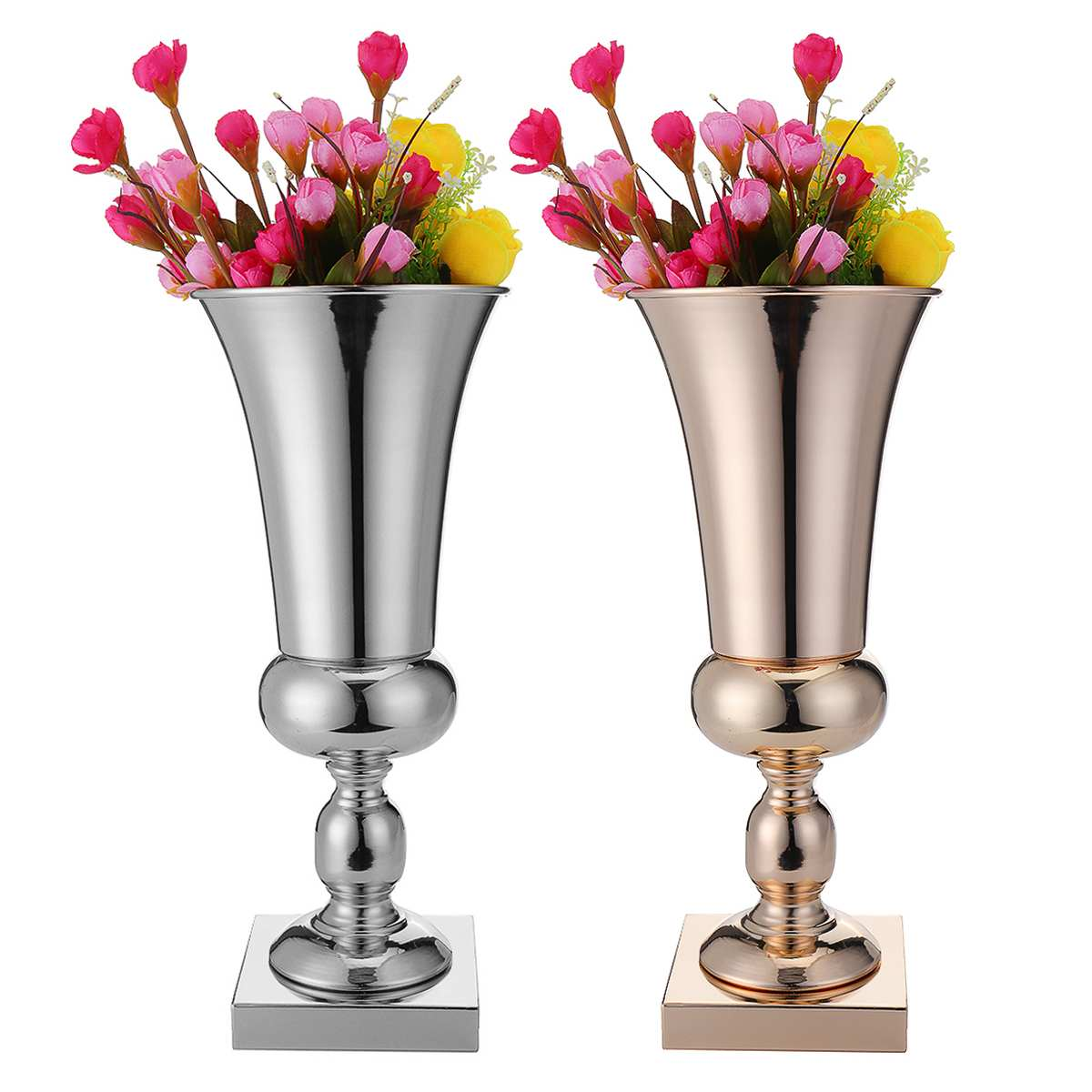 43cm Luxury Silver Gold Flower Vase Iron Metal Wedding Home Table Centrepiece Decor Dining Living Room Ornaments Accessories