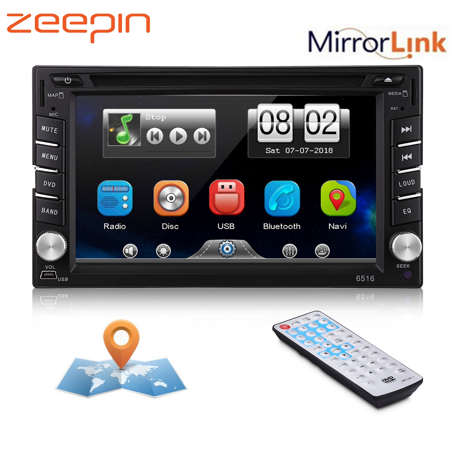 <font><b>6.2</b></font>'' Car DVD Player <font><b>GPS</b></font> Bluetooth AM FM Stereo Audio Auto Radio <font><b>2din</b></font> Touch Screen Mirror Link CD USB Music TV Wireless Remote image