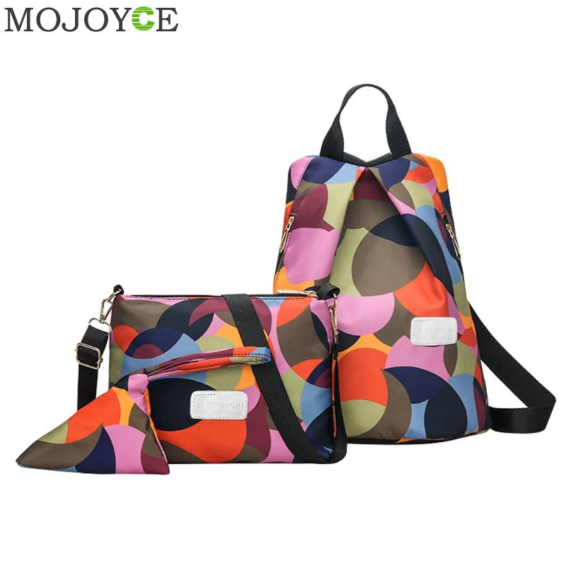 3Pcs/Set Women Oxford Backpack Female School Bag For Teenager Girl Lady Crossbody Shoulder Bag Clutch Purse Bolsa Feminina