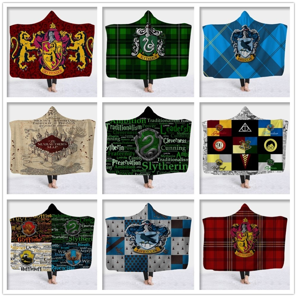 Harry Potter Hufflepuff Ravenclaw Warm Wearable Throw Wrap Hooded Blanket
