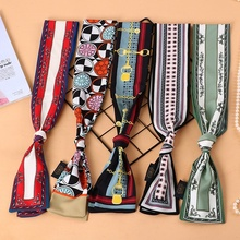 New Spring Summer Female Silk Scarves Korean Chiffon Printed Thin Ribbon Bag Tied Wide Small Scarf