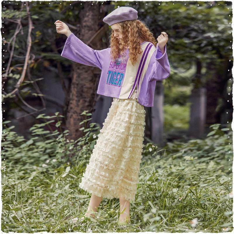 Ligne Vintage Décontracté Mousseline ewq En D'été 2019 Beige Princesse Haute Jupe Taille De Mc284 Filles Mode Elastique Nouvelle Une Soie Vêtements UwF8p