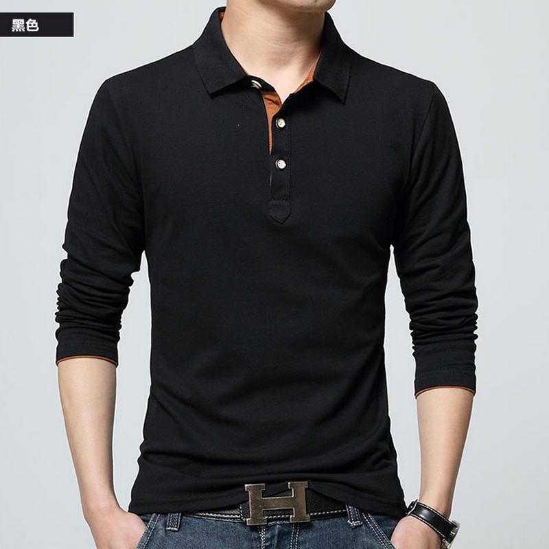 New 2018 Men   Polo   Shirt Fashion Brand Pure Color Long Sleeve Fitness Top Design Shirt High-Quality Male Cotton   Polo   Shirts M-3XL