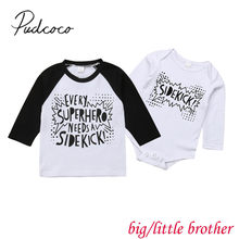2018 Brand New Toddler Baby Girls Boys Sister Brother Clothes Letter Print Long Sleeve T-Shirts Jumpsuits Romper Matching Tops(China)