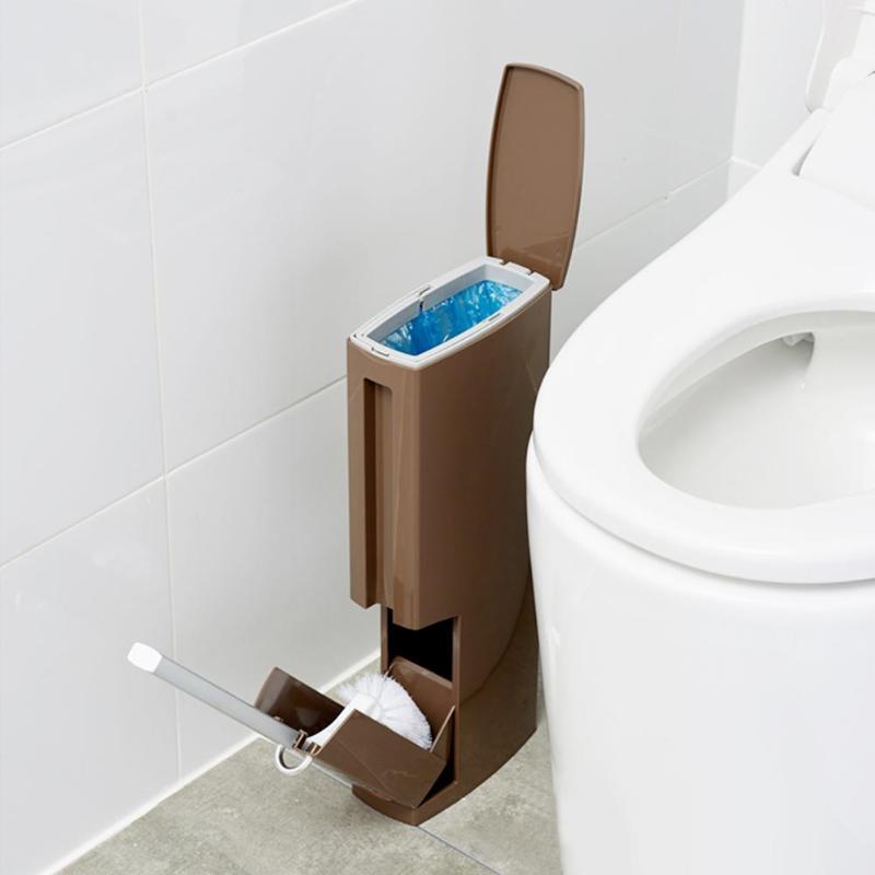 Plastic Bathroom Trash Can With Toilet Brush Waste Bin