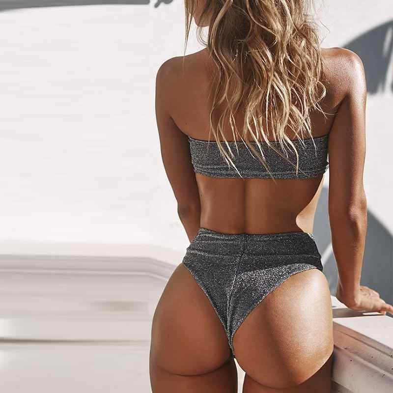 Mossha argent sexy bikinis 2019 mujer baigneurs Push up bikini ensemble Bandeau micro maillots de bain femmes taille haute maillot de bain femme