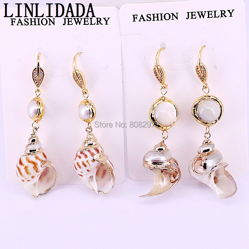 5Pairs Gold color pearl shells earrings natural simple conch shell dangle earring fashion jewelry wholesale