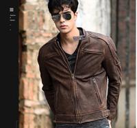 5XL Plus size Brand Classic biker cow leather jacket man,100% genuine leather jackets,vintage quality men sales