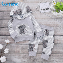 Cartoon Elephant 2Pcs Baby Boy Clothes Set Light Grey Newborn Clothes Hooded Tops+Soft Pants 0-2Years Kids Set For Boy Girl 2017 new arrival newborn baby boy girl set clothes cotton full sleeve striped hooded coat elephant print o neck romoper pants