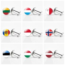Europe Country Flag Cufflinks Lithuania Luxembourg Malta Hungary Latvia Norway Custom National Flag Men Cuff Links jewelry