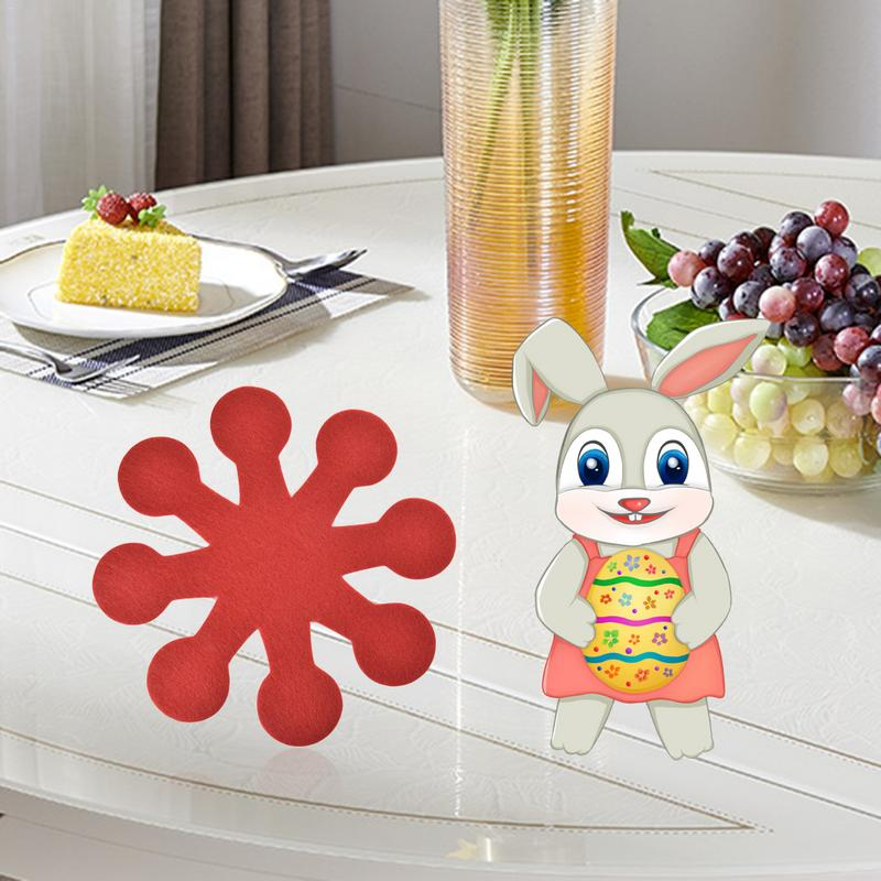 Easter Household Items Eight Petals Flower Pot Mat Easter Placemat Coasters 4 Pieces/Pack Easter Decorations For Home