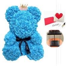 Главная Декоративные 40 см Роза медведь, искусственные роза с подарочной коробке для валентинки Искусственные цветы Para Decoracion Hogar