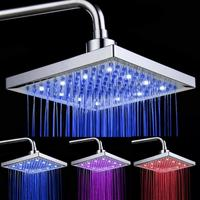 8 inch Temperature Control 3 Color Changing LED Light Square Shaped Water Shower Head Shower Faucet Nozzle