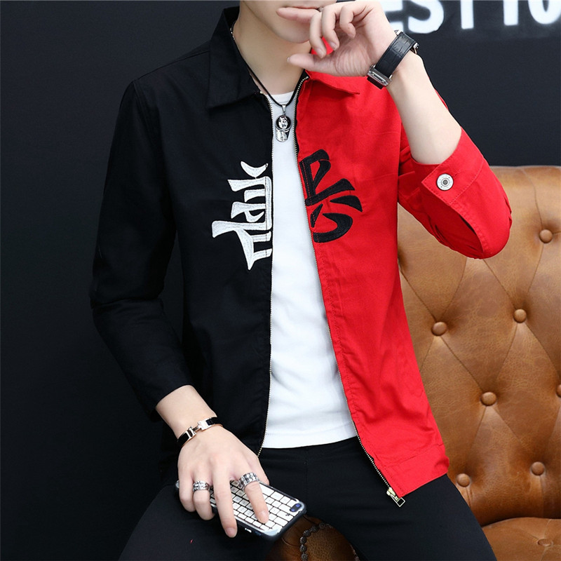 #3410 Black And Red Denim Jacket Men Zipper Casual Hip Hop Denim Jeans Jacket Coat Man Streetwear Bomber Coat Windbreaker