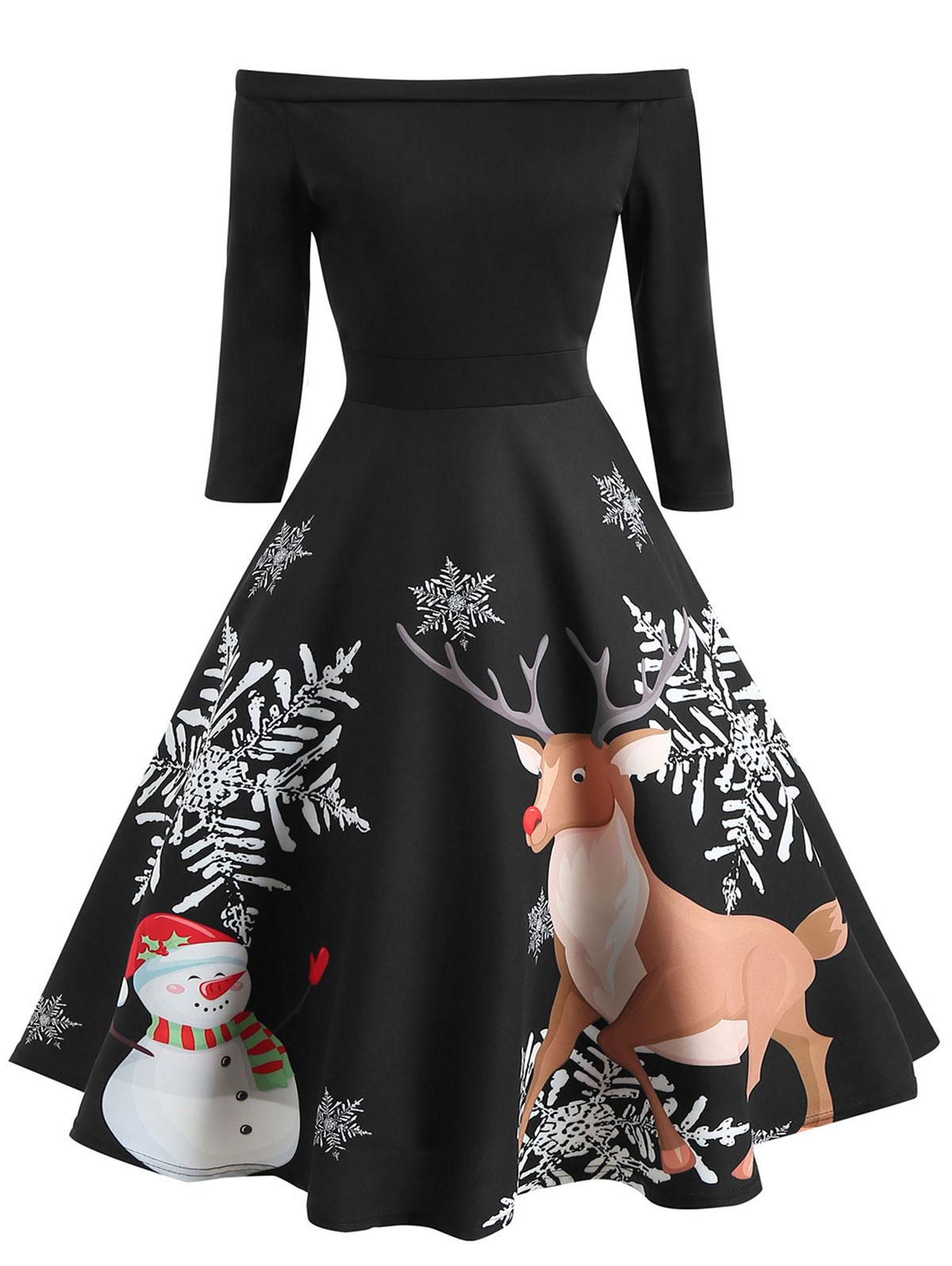 Wipalo 1950s Off Shoulder Christmas Dress Female Women Patchwork Elk Printed Long Sleeve Vintage A-Line Party Dresses 2XL