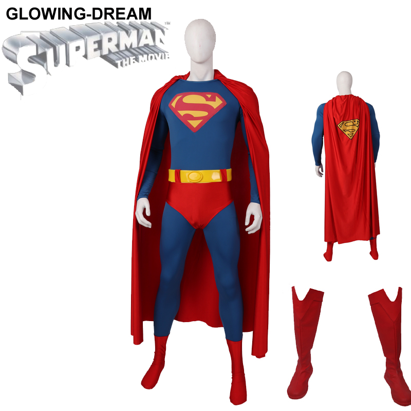 Glowing Dream Newest Superman Cosplay Costume 1978 Superman Costume With Belt Old TV Superman Outfit Relief Logo Superman Suit