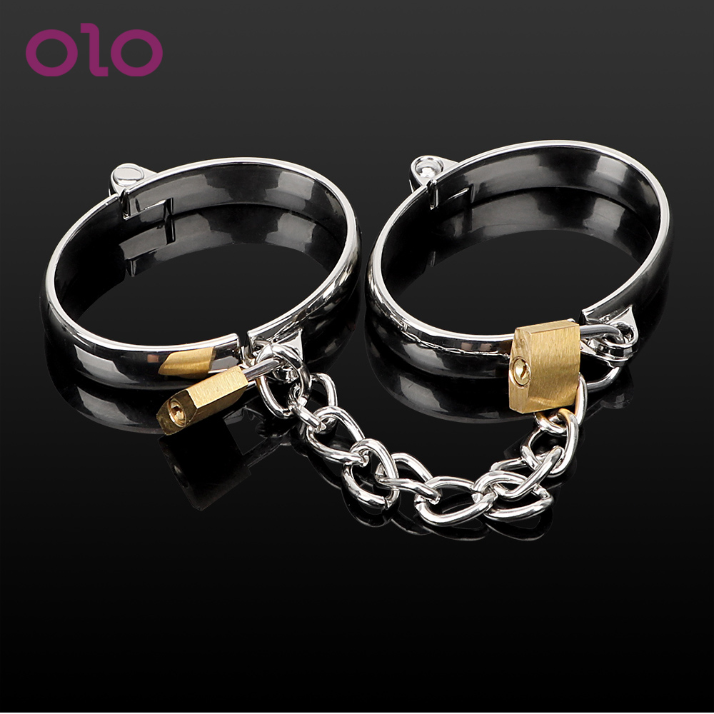 OLO 1 Pair Couple Binding Bondage Restraints Female Male Handcuff Stainless Steel Ankle Cuffs Wrist Cuff Adult Game Sex Toys