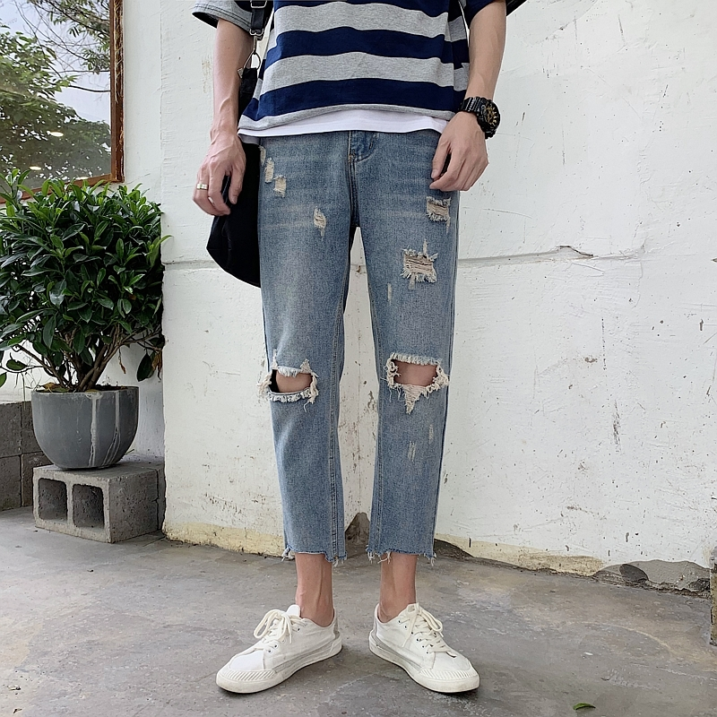 Summer New Jeans Men Fashion Washed Solid Color Torn Holes Denim Pants Man Streetwear Wild Hip Hop Trousers Male Clothes