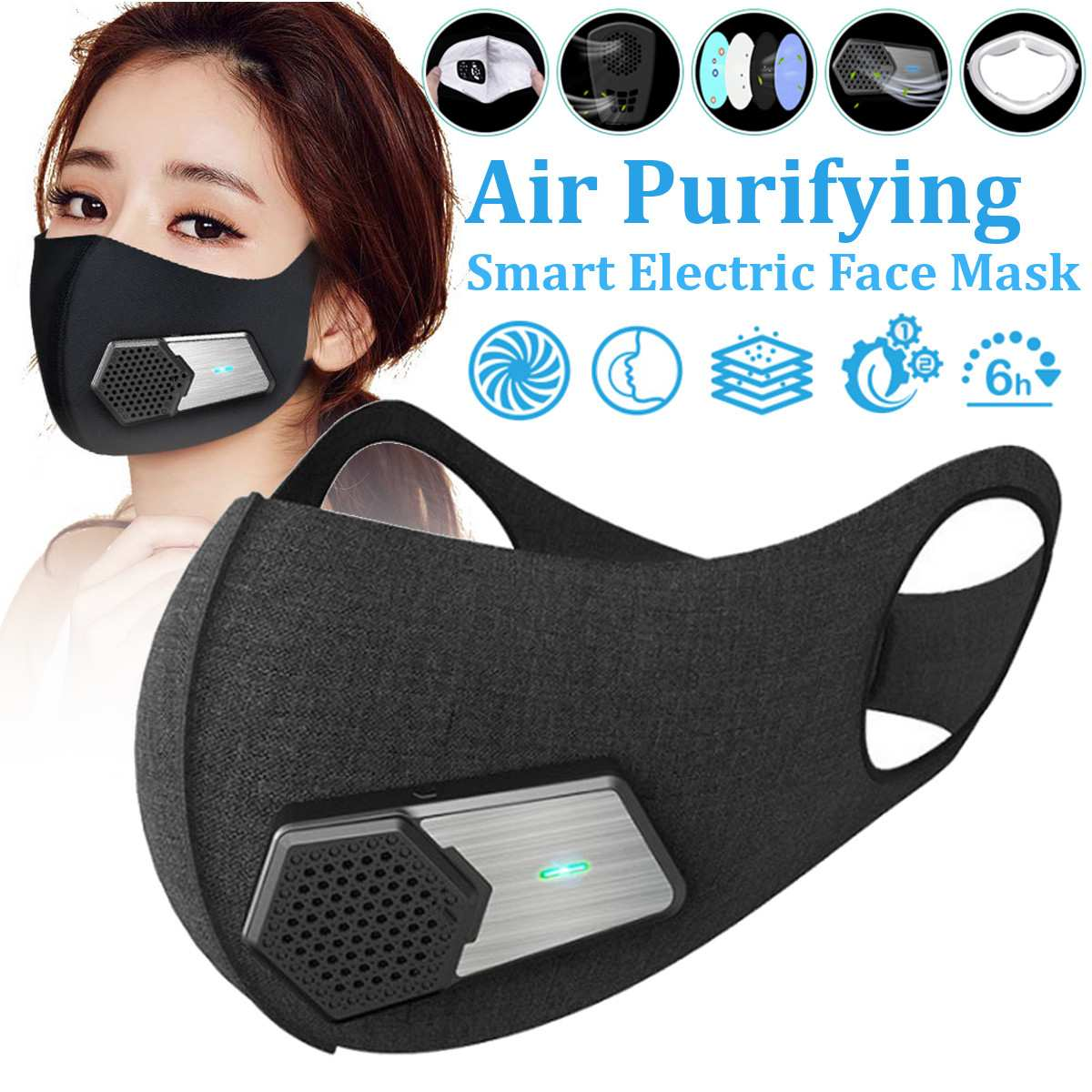 Smart Electric Face Dust Mask Air Purifying N95 Anti Dust Pollution PM2.5 With Breathable Valve Personal Health Fresh Air SupplySmart Electric Face Dust Mask Air Purifying N95 Anti Dust Pollution PM2.5 With Breathable Valve Personal Health Fresh Air Supply