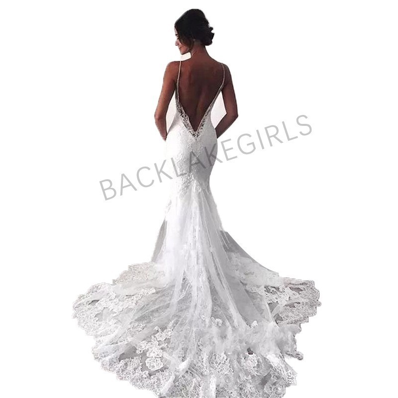Lace Mermaid Wedding Gown With Straps: Aliexpress.com : Buy Sexy New Backless Lace Wedding