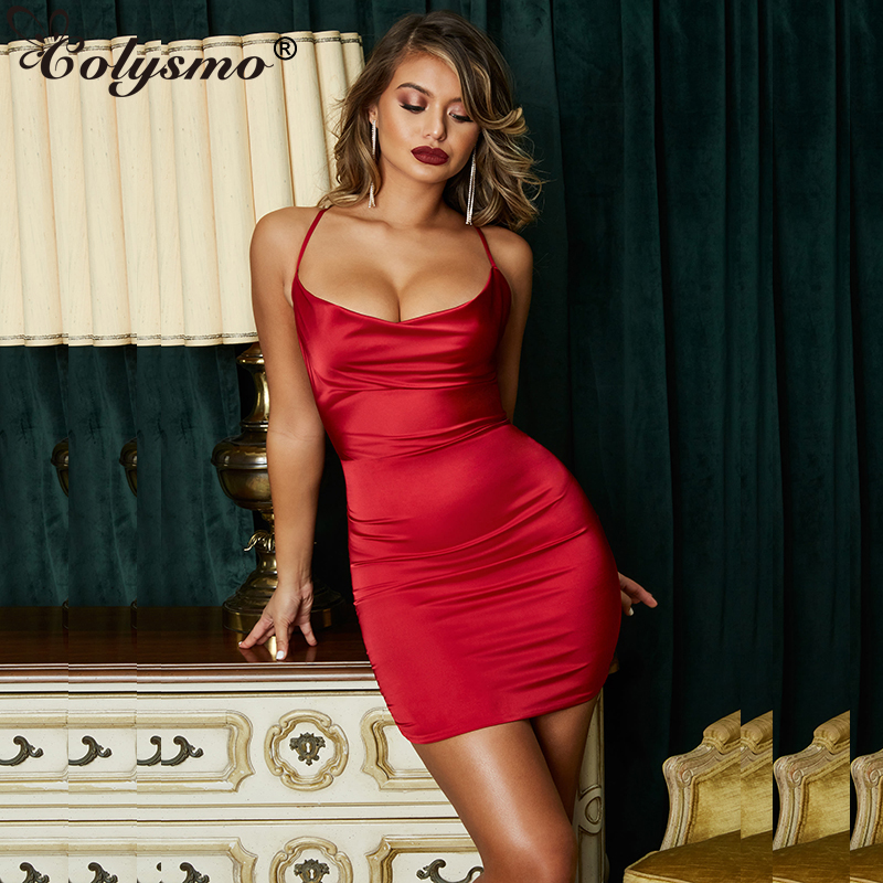 619918f168 Colysmo Summer Leopard Print Satin Dresses Woman Party Night Sexy Low Cut  Backless Dress Red Slim