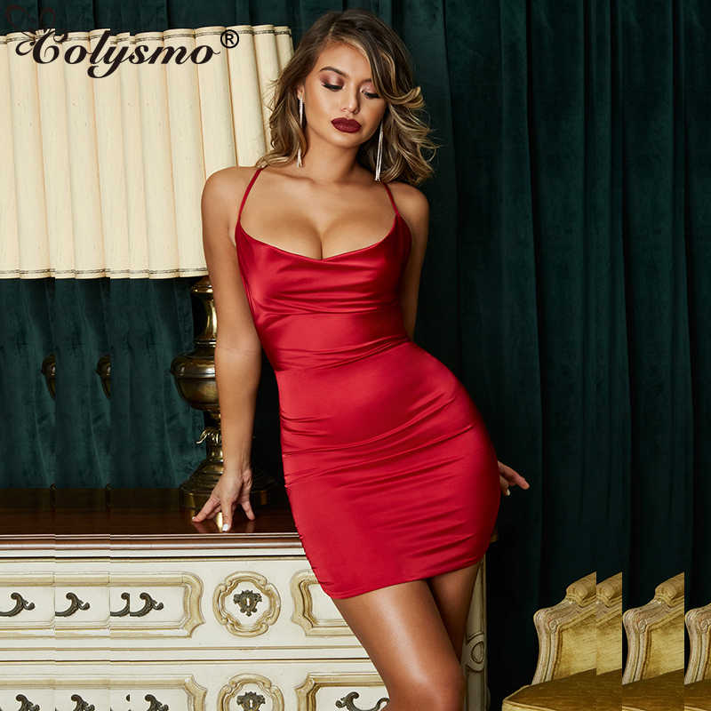 19c71bc8 Colysmo Summer Leopard Print Satin Dresses Woman Party Night Sexy Low Cut  Backless Dress Red Slim
