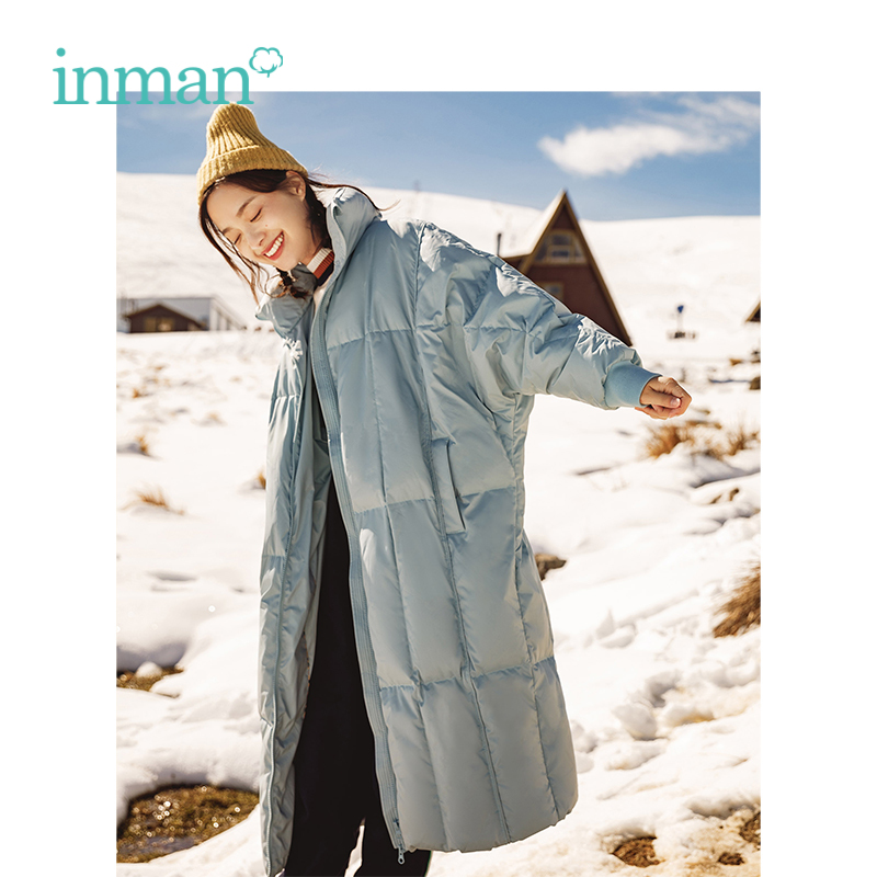 INMAN 2018 Women Clothing Winter Stand Collar Keep Warm Wind Protection Korean Loose Style  Lady Girl Long Down Outerwear Coat