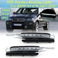 Автомобильная проблесковая 2 шт. DRL Габаритные огни дневного света автомобиля светодиодный налобный противотуманный фонарь свет для BMW X5 E70