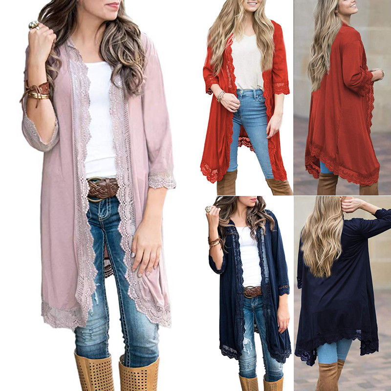 Fashion Women Long Sleeve Lace Cardigan Tops Casual Loose   Trench   Coat Outwear Clothes