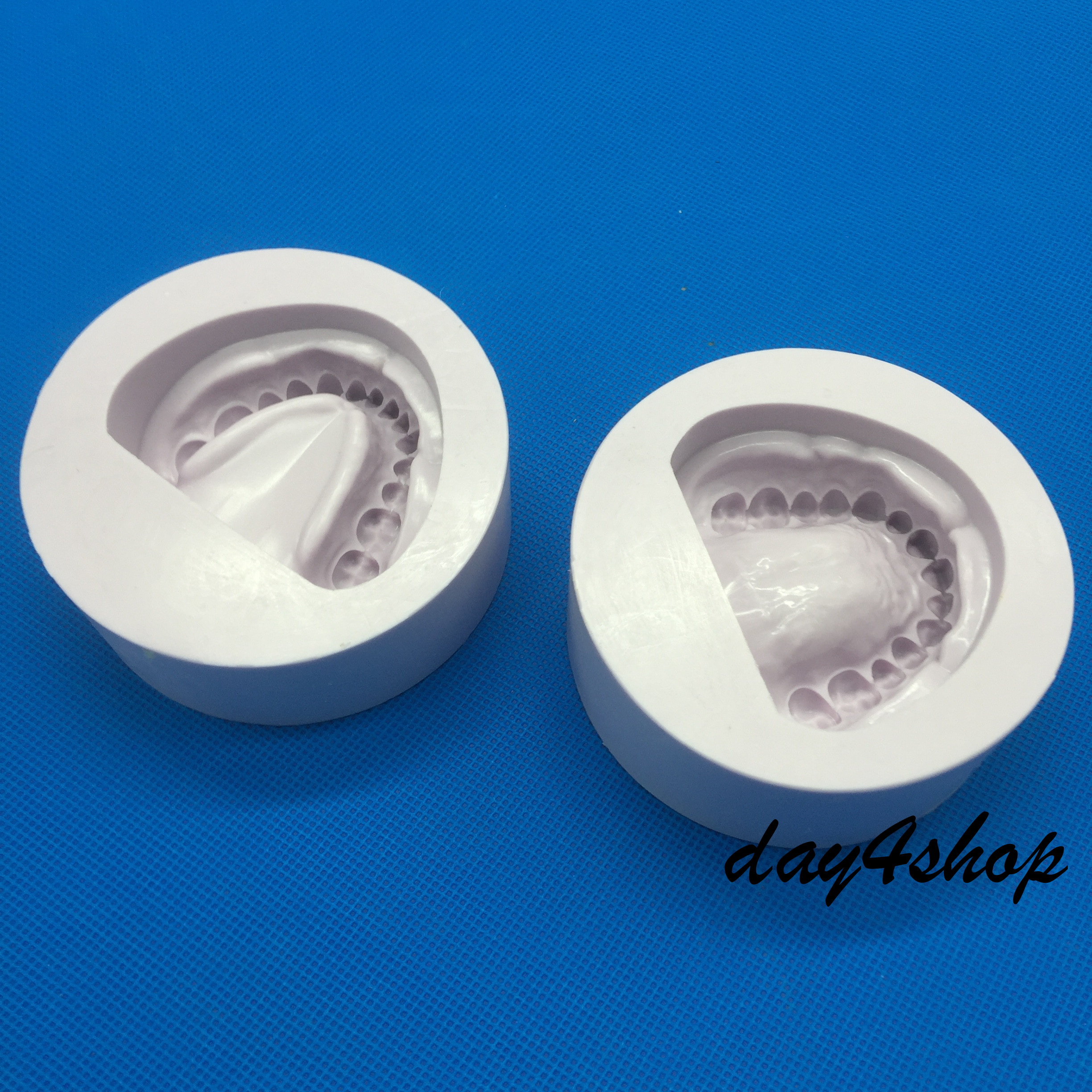 2pcs Purple silicone Dental Plaster Model Mold Mould of Edentulous Jaw Complete Cavity set