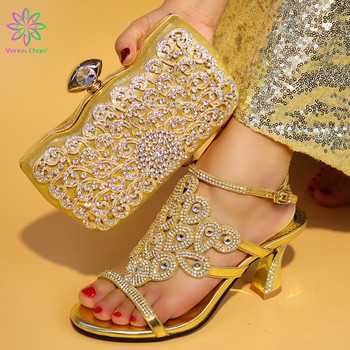 African Fashion Woman Shoes And Bag Set Nigerian Gold High Heels Shoes And Decorated With Crystal Bag Set For Party
