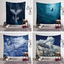 Dancing Whale Printed Wall Hanging Tapestry Shark Blue Sky Sea Tapestries Boho Bedspread Yoga Mat Beach Blanket Home Decorative